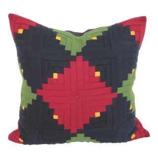 Log Cabin Quilt Pillow Single