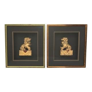Framed Asian Chinoiserie Gold Gilt Foo Dog Sculptures - a Pair