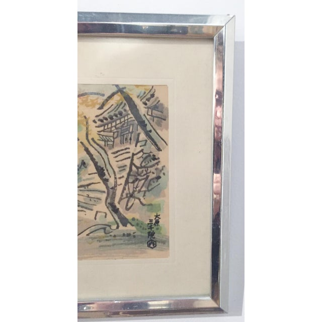 Mid Century Asian Framed Silk Prints - Pair - Image 7 of 8