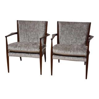 Danish Teak Grey Lounge Chairs - A Pair