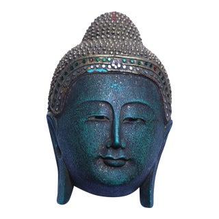 Green Buddha Wood Head