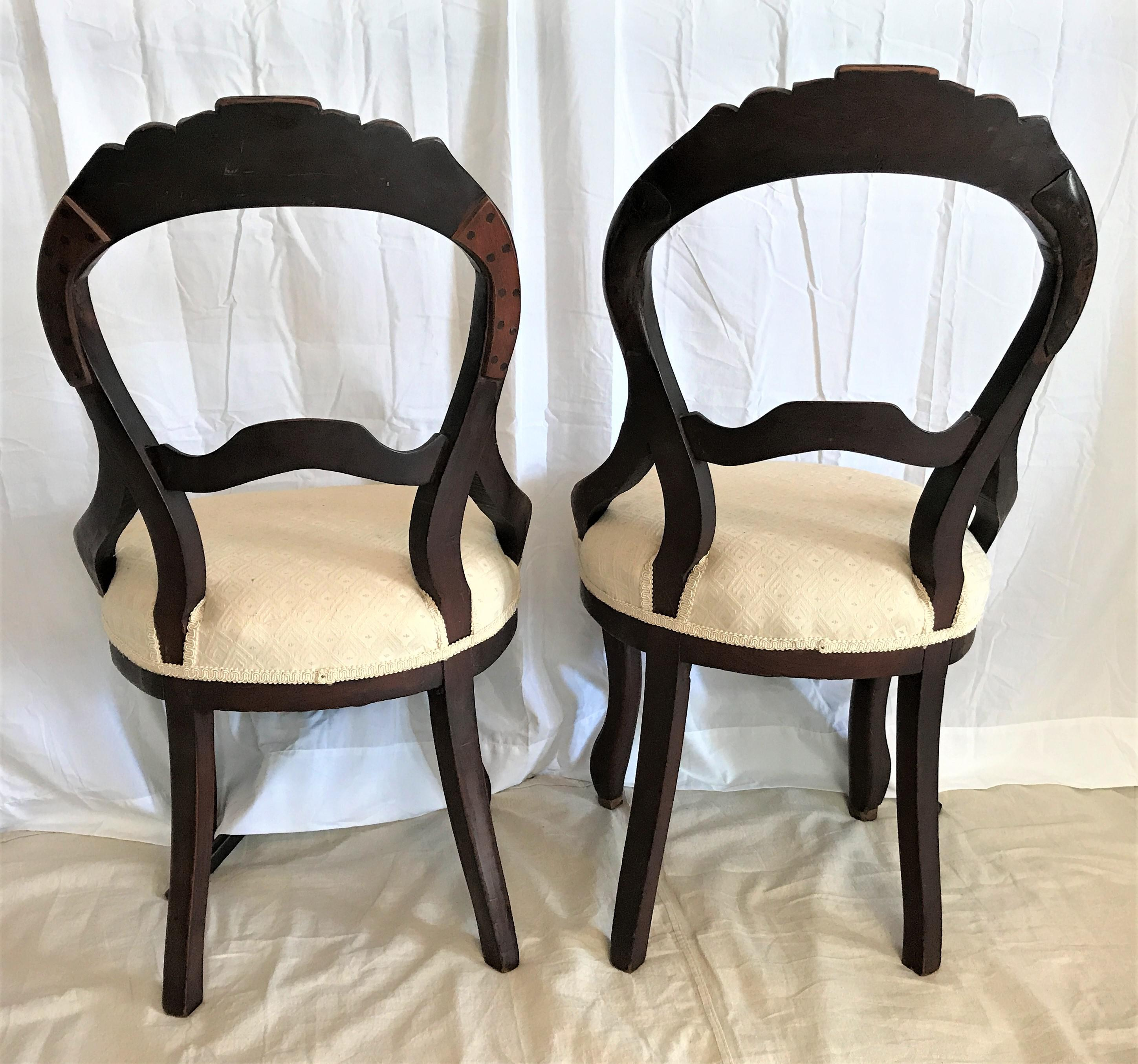Awesome 1850 Louis XV Style Balloon Back Chairs   A Pair   Image 5 Of