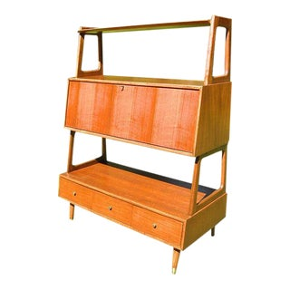 Saginaw Mid-Century Walnut & Brass Bookcase / Room Divider
