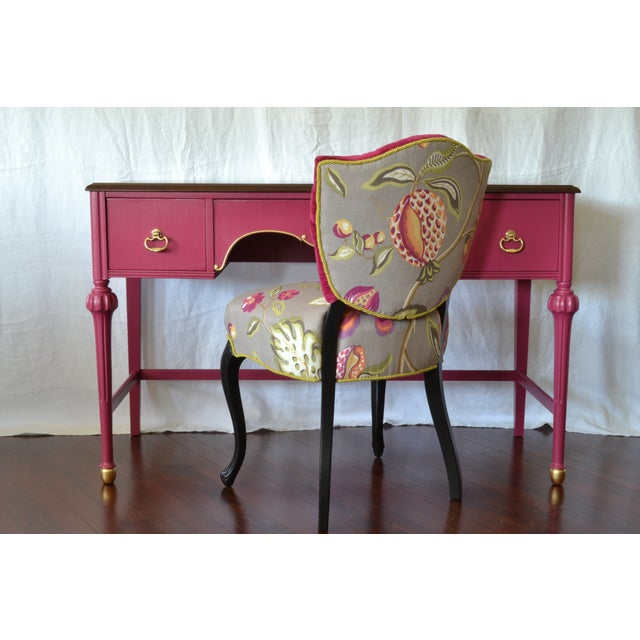 Pink Antique Mahogany Writing Desk Vanity Gold - Image 7 of 7
