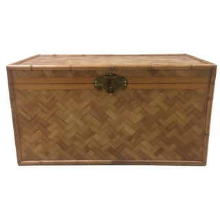 Vintage Faux Bamboo Basketweave Trunk