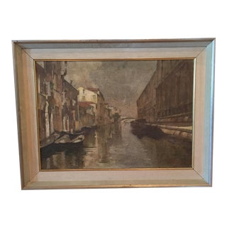 Italian Oil Painting on Canvas of Venetian Canal