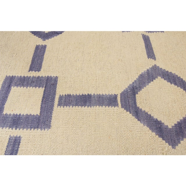 "Apadana Blue & Ivory Geometric Kilim - 9' X 12'2"" - Image 7 of 7"