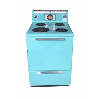 1950s Vintage General Electric Turquoise Stove