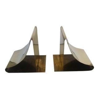 Vintage Sarreid Brass Geometric Bookends