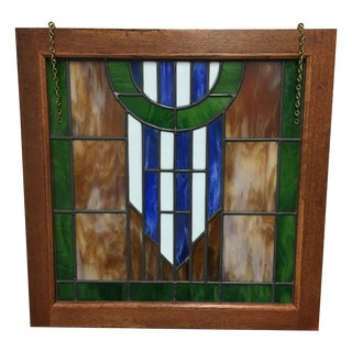 Framed Blue, Green & Brown Stained Glass Panel