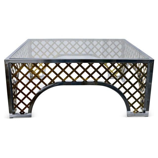 Gold Tone Lattice Motif Coffee Table Chairish