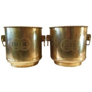 Pair Oriental Brass Planters