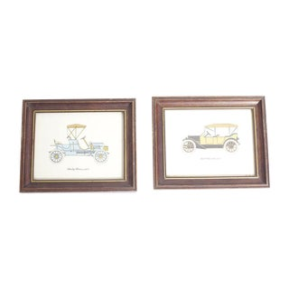 Vintage Framed Car Prints - A Pair