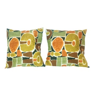 Mid-Century Modern Abstract Textile Pillows - Pair