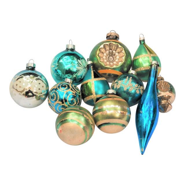 Vintage Blue and Green Glass Ornaments - Set of 11 - Image 1 of 10