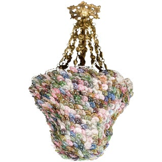 Bell Shaped Art Glass & Brass Chandelier