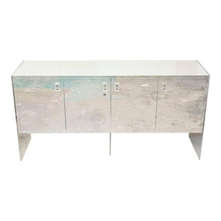 White Lacquer over Wood, Stainless Steel and Lucite Vintage Cabinet or Buffet