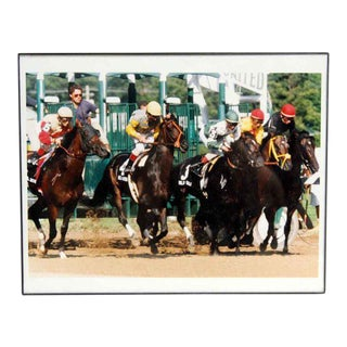 Vintage Framed Horse Racing Photo