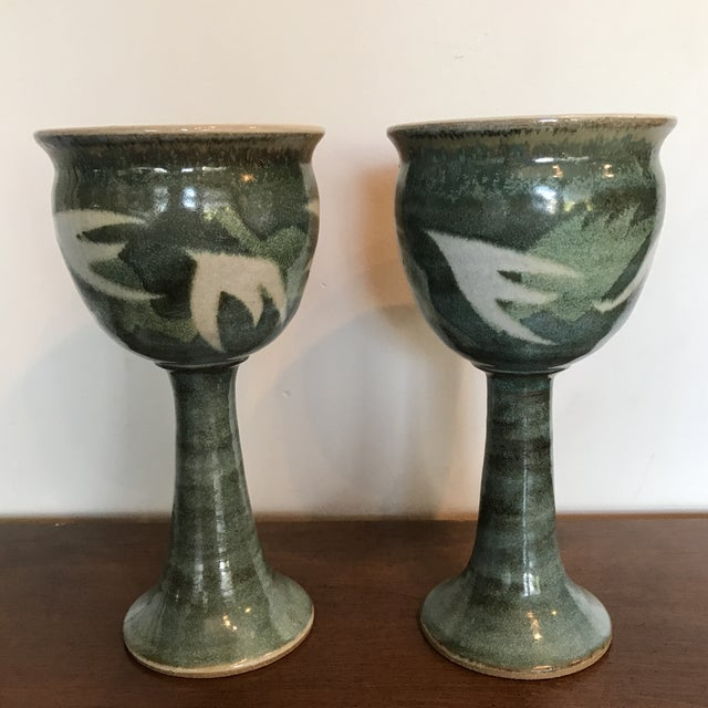 Blue & Green Ceramic Goblets - A Pair - Image 2 of 9