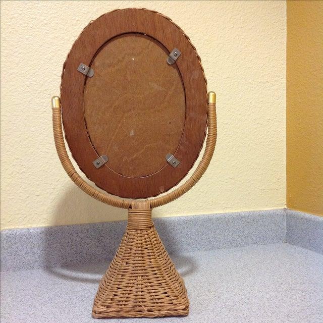 Hollywood Regency Wicker Mirror - Image 4 of 4