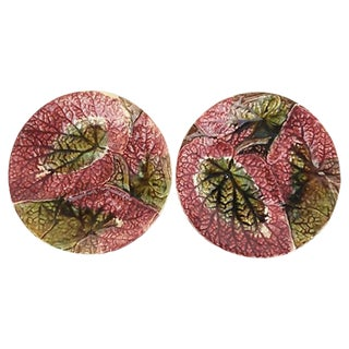 English Majolica Begonia Plates - A Pair