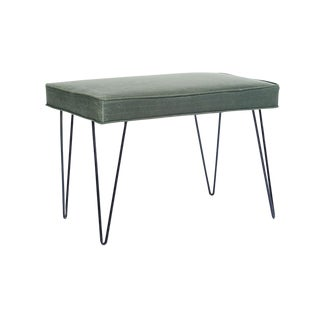 Green Wax Cloth Mid-Century Hairpin Bench