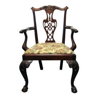 HICKORY CHAIR Mahogany Chippendale Ball Claw Accent Armchair