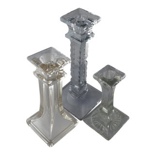 Mid-Century Cut Crystal & Glass MIX Candle Holders - Set of 3