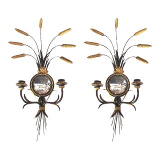 Regency Style Black Enameled and Giltmetal Sconces - a Pair