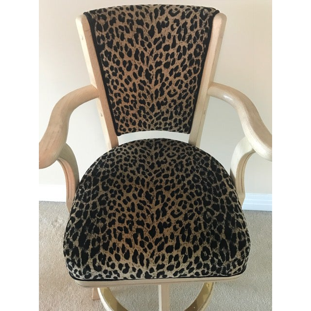 Leopard Print Swivel Bar Stools- A Pair - Image 5 of 6