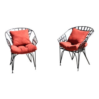 Metal pair of outdoor chairs