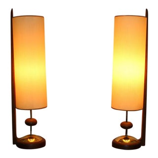 Mid-Century Modern Fiberglass & Wood Table Lamps- A Pair