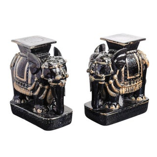 Black Glazed Terra Cotta Elephant Garden Stools - A Pair