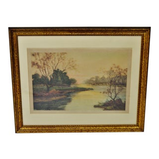 Vintage Fausto Giusto Framed Colored Etching Stehli Freres, Editeur's Zurich