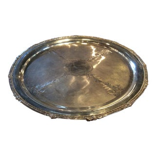 Massive Antique Silver Plated Round Tray