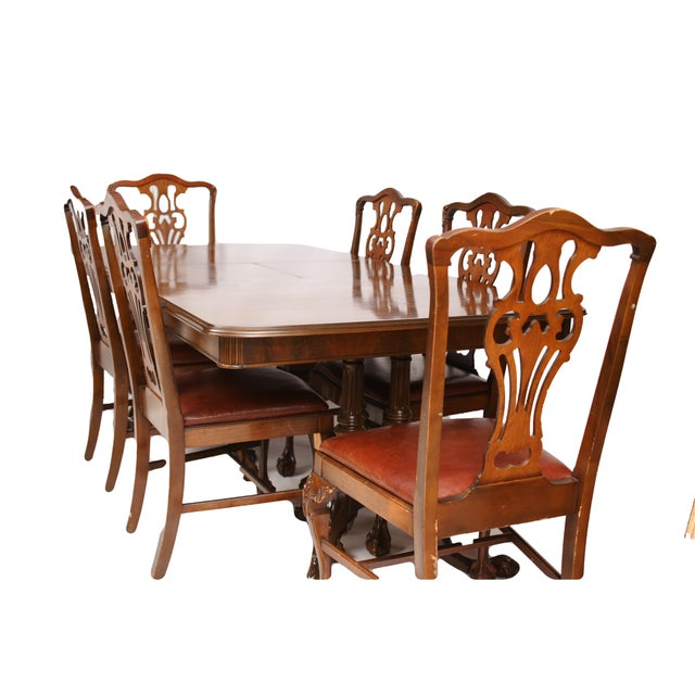 claw foot dining table 6 chairs w leather seats chairish