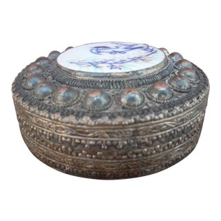Metal & Ceramic Chinese Box