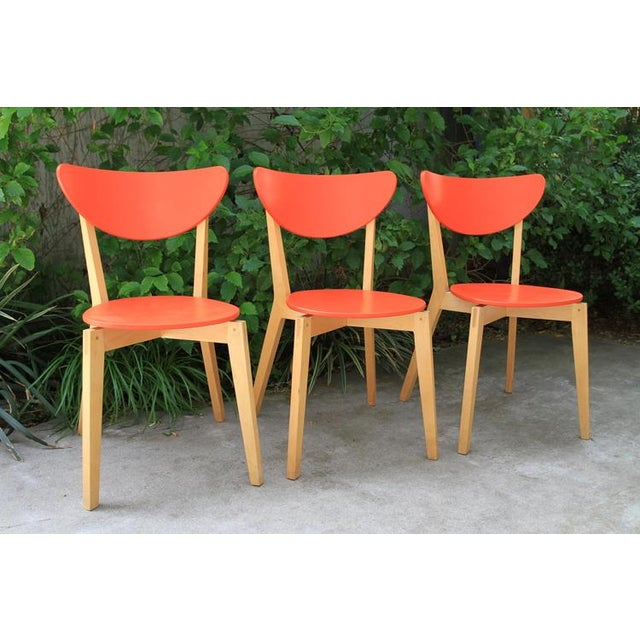 Image of Mid Century Tangerine Chairs - Set of 3