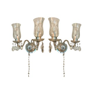 Vintage Crystal Wall Sconces - A Pair
