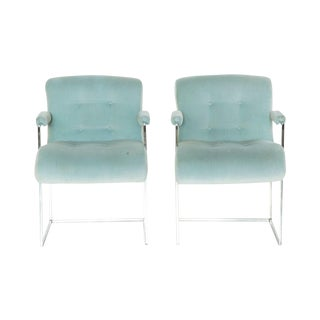 Milo Baughman Chrome Dining Chairs - Pair