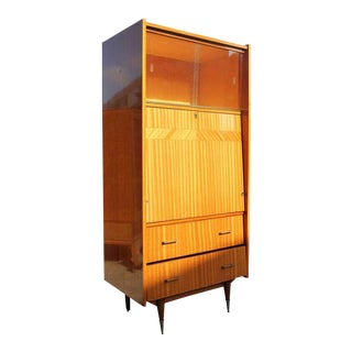 Monumental French Art Deco Exotic Mahogany Bar / Credenza Drop Down Front Circa 1940s