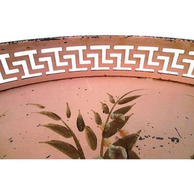 Vintage Tole Painted Pink Greek Key Tray - Image 6 of 7