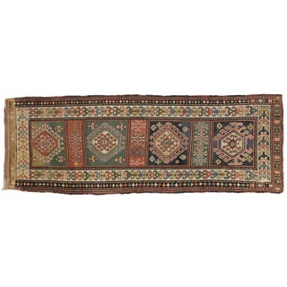 Antique Russian Kazak Carpet Runner with Modern Tribal Style