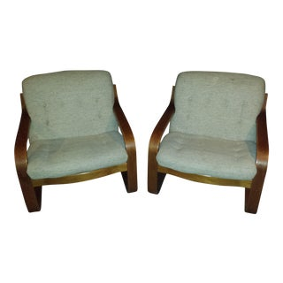 Mid-Century Modern Westnofa Bentwood Club Chairs - A Pair