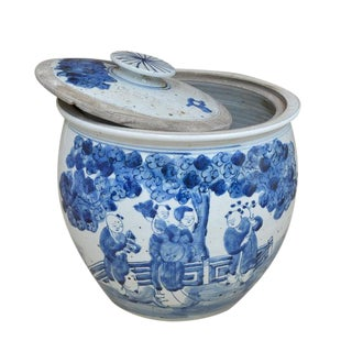 Blue & White Lidded Urn