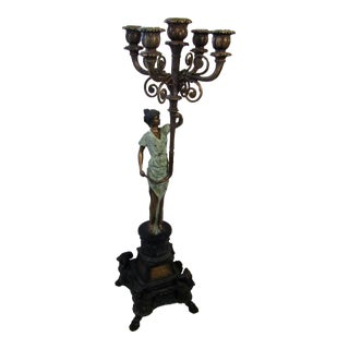 Traditional Bronze Figural Candelabra