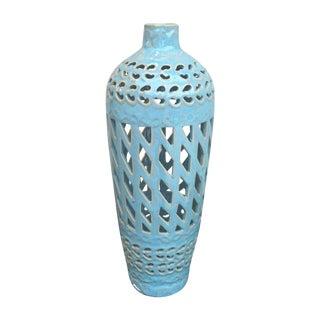 Vintage Powder Blue Cutaway Vase