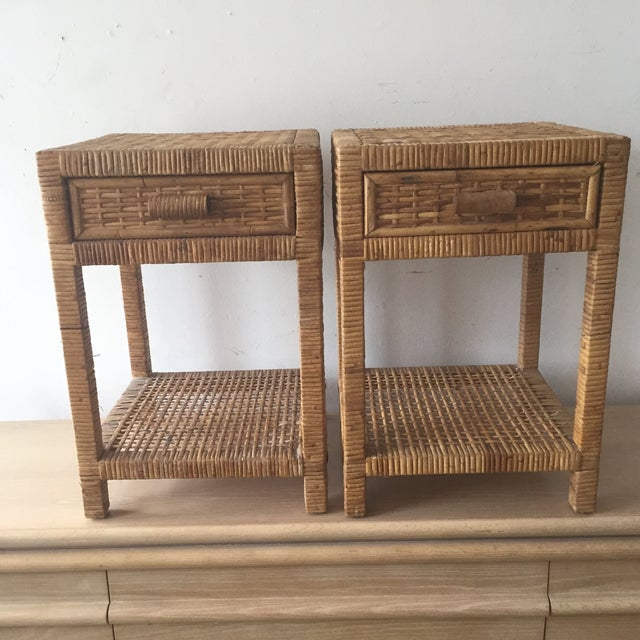 Island Woven Rattan End Tables - A Pair - Image 2 of 6