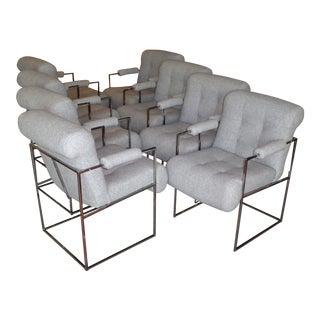 Eight Plush Modern Milo Baughman Thin Line Armed Dining Chairs