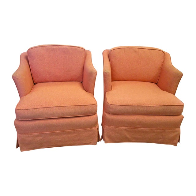 Vintage upholstered swivel chairs pair chairish for Small club chairs upholstered